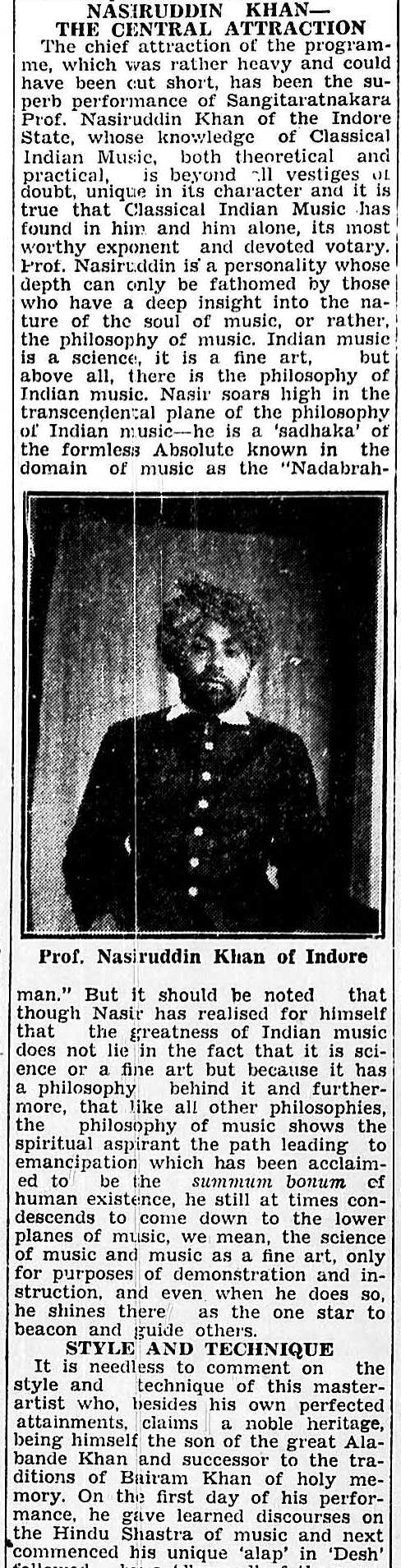 Part of the Review of Nasiruddin Khan's performance at the 2nd All Bengal Conference Calcutta December 1935